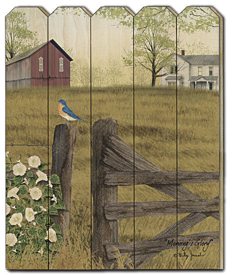 Billy Jacobs BJ1133PF - Morning's Glory  - Barn, Fence, Bird, Farm, Flowers, Landscape, Vertical, Country, Wood from Penny Lane Publishing