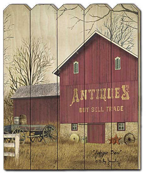 Billy Jacobs BJ1136PF - Antique Barn  - Country, Primitive, Landscape, Antiques, Farm, Barn, Wood, Fence, Gift from Penny Lane Publishing
