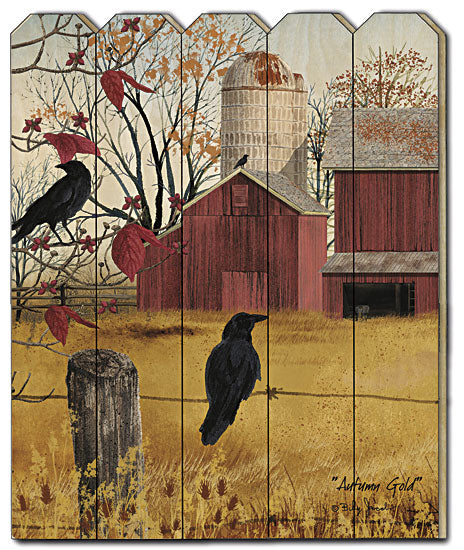 Billy Jacobs BJ1137PF - Autumn Gold - Country, Primitive, Landscape, Fence, Birds, Silo, Farmhouse, Vertical, Wood, Fall,  from Penny Lane Publishing