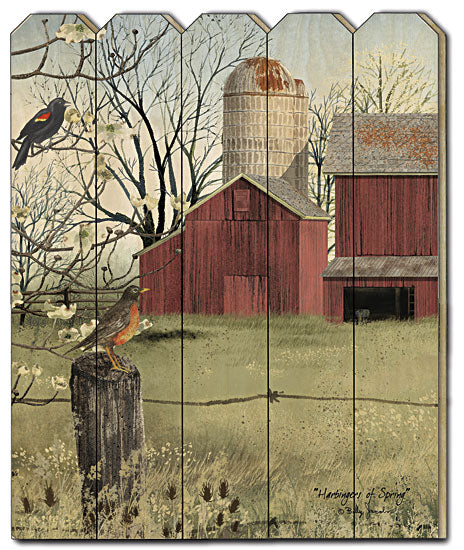 Billy Jacobs BJ1141PF - Harbingers of Spring - Wood, Wood Slat, Barn, Silo, Birds, Trees, Vertical Country, Primitive, Farmhouse from Penny Lane Publishing