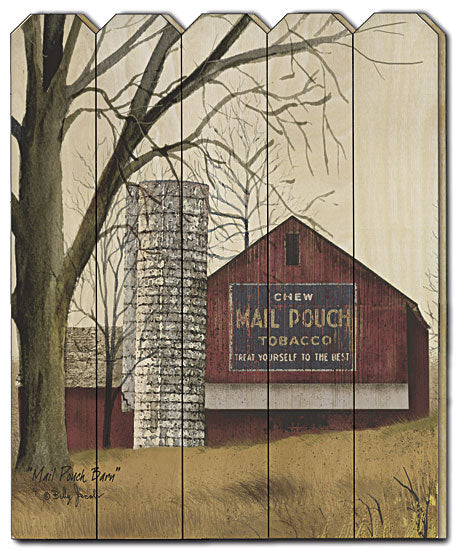 Billy Jacobs BJ1143PF - Mail Pouch Barn - Mail Pouch, Barn, Silo, Trees, Farm, Wood Slat, Picket Fence, Wood, Primitive, Landscape from Penny Lane Publishing