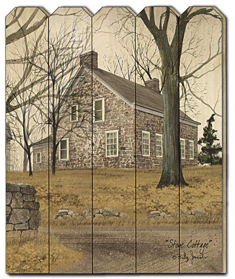 Billy Jacobs BJ1147PF - Stone Cottage - Stone Cottage, Trees, Farm, Landscape, Country, Primitive, Wood Slat, Picket Fence, Wood from Penny Lane Publishing