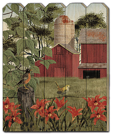 Billy Jacobs BJ1148PF - Summer Days - Flowers, Trees, Red Barn, Farm, Barnlife, Fence, Birds, Silo, Primitive, Country Wood Slat, Picket Fence from Penny Lane Publishing