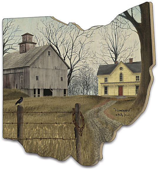 Billy Jacobs BJ1151OH - Homeward - Farm, House, Road, Fence, Bird, Trees, Homeward, Barn, Wood Cutout from Penny Lane Publishing