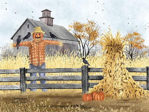 Billy Jacobs BJ1163 - Scatterbrains - Scarecrow, Haystack, Pumpkins, Barn, Crows, Field from Penny Lane Publishing