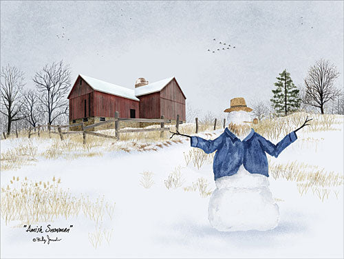Billy Jacobs BJ1164 - Amish Snowman - Amish, Snowman, Snow, Meadow, Field, Barn from Penny Lane Publishing