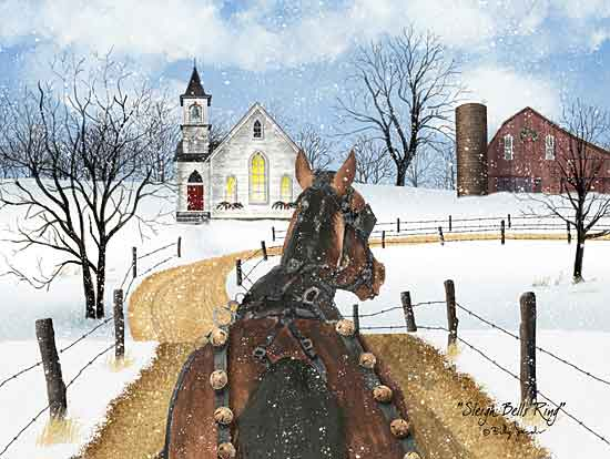 Billy Jacobs BJ1257 - BJ1257 - Sleigh Bells Ring - 16x12 Horse, Sleigh Bells, Barn, Silo, Church, Trees, Pathway,  from Penny Lane