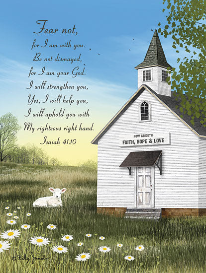 Billy Jacobs BJ1261 - BJ1261 - Fear Not with Verse - 12x16 Church, Country, Daisies, Field, Lamb, Spring, Religious, Fear Not, Bible Verse, Isaiah from Penny Lane