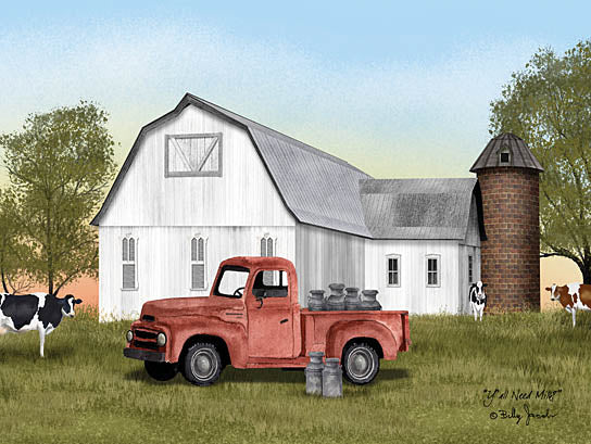 Billy Jacobs BJ1262 - BJ1262 - Yall Need Milk? - 16x12 Barn, Farm, Cows, Milk Cans, Silo, Field, Truck, Red Truck from Penny Lane
