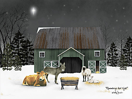 Billy Jacobs BJ1270 - BJ1270 - Remembering the Night - 16x12 Nativity, Farm, Farm Animals, Cow, Donkey, Sheep, Lamb, Nighttime, Moon from Penny Lane