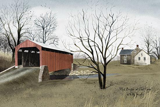 Billy Jacobs BJ142 - Red Bridge at Pool Forge - Bridge, Path, Tree, House from Penny Lane Publishing