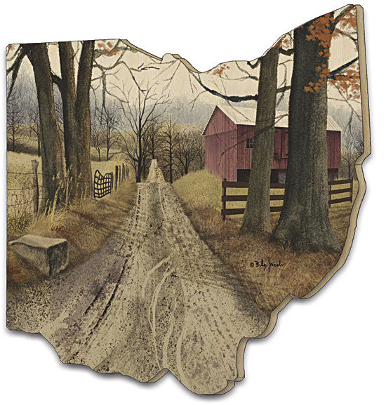 Billy Jacobs BJ143OH - The Road Home - The Road Home, Country, Primitive, Landscape, Road, Trees, Barn, Farmhouse, Fence, Pathway, Wood Cutout, Ohio from Penny Lane Publishing