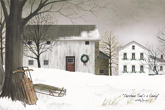Billy Jacobs BJ148A - Christmas Time's a Coming - Barn, Sled, Snow, Barn, Farm from Penny Lane Publishing