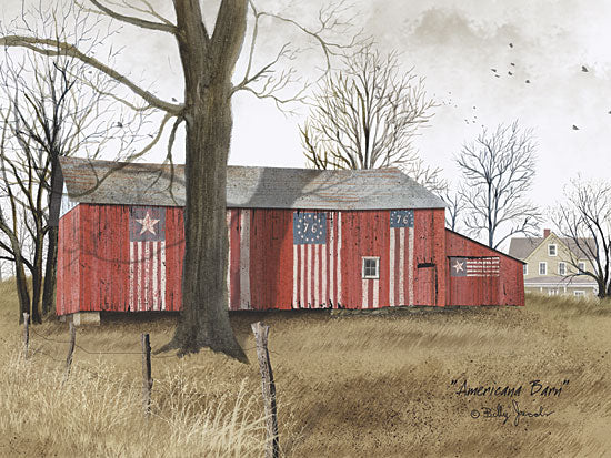 Billy Jacobs BJ157 - Americana Barn - American Flag, Barn, Field from Penny Lane Publishing