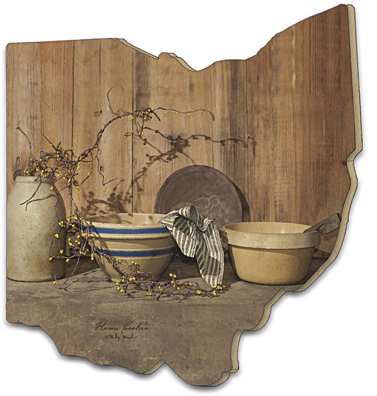 Billy Jacobs BJ183OH - Home Cooking - Still Life, Kitchen, Pots, Ceramic, Table, Country, Primitive, Ohio Cutout, wood from Penny Lane Publishing