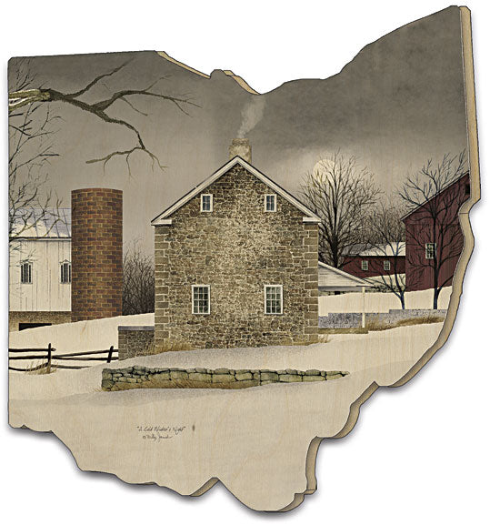 Billy Jacobs BJ190OH - A Cold Winter's Night - Winter, Farmlife, Farmhouse, Silo, Barn, Snow, Landscape, Country, Primitive from Penny Lane Publishing