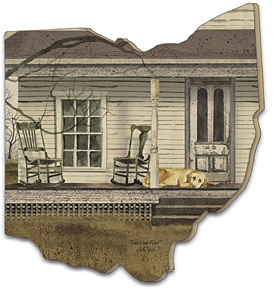 Billy Jacobs BJ200OH - The Long Wait - Front Porch, Rocking Chairs, Country, Home, Farmhouse, Wood, Ohio Cutout from Penny Lane Publishing