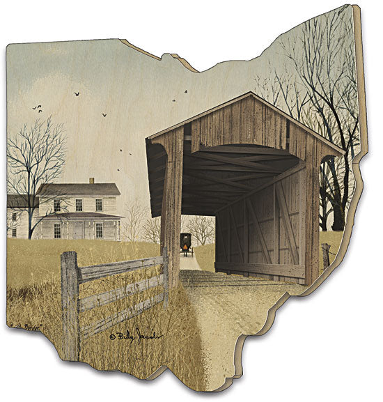 Billy Jacobs BJ448OH - The Old Miller's Creek Bridge - Bridge, Farmhouse, Amish, Ohio Cutout, Wood, Farmlife, Landscape, Wood cutout from Penny Lane Publishing