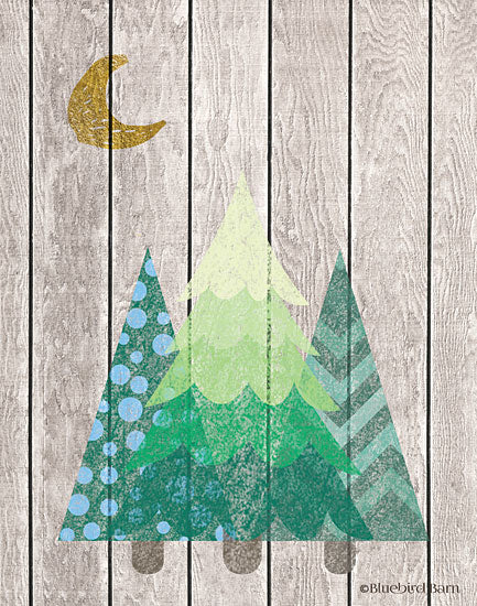 Bluebird Barn BLUE188 - Whimsical Trees Under the Moon - 12x16 Trees, Pine Trees, Shiplap, Abstract, Moon from Penny Lane