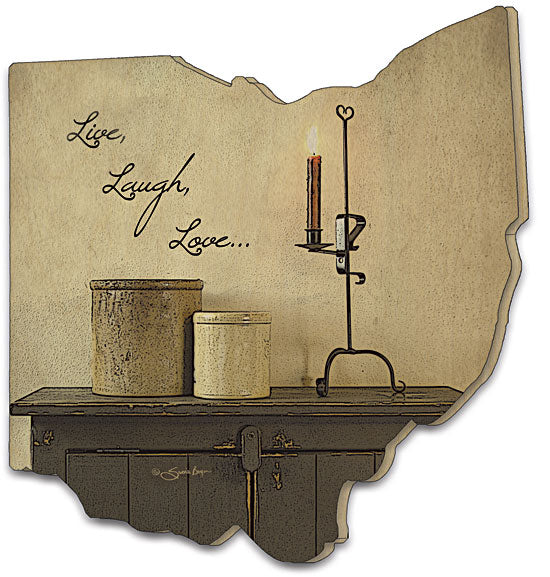 Susie Boyer BOY146OH - Live Laugh Love - Live, Laugh, Love, Still Life, Candle, Kitchen, Wood Cutout, Home, Country, Primitive from Penny Lane Publishing