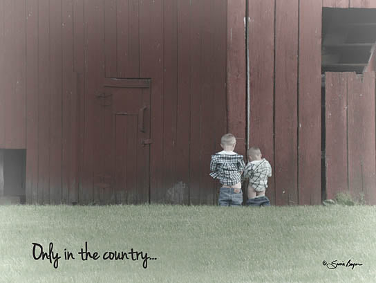 Susie Boyer BOY170 - Only in the Country - Boys, Barn, Country, Humor, Bathroom from Penny Lane Publishing