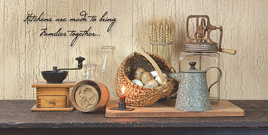 Susie Boyer BOY280 - Kitchens - Bring Families Together - Coffee Grinder, Basket, Eggs, Pitcher, Antiques from Penny Lane Publishing