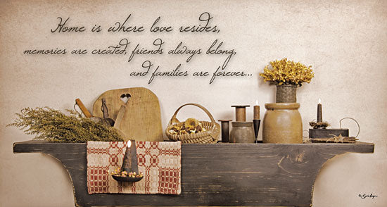 Susie Boyer BOY285 - Home is Where Love Resides  - Dried Flowers, Shelf, Inspirational from Penny Lane Publishing