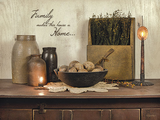 Susie Boyer BOY356 - Family Makes This House a Home - Still Life, Primitive, Family, Herbs, Candle from Penny Lane Publishing