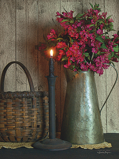 Susie Boyer BOY373 - Basket and Blossoms - Floral, Primitive, Still Life, Basket from Penny Lane Publishing