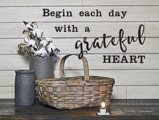 Susie Boyer BOY390A - Begin Each Day with a Grateful Heart - Basket, Cotton, Vase, Candle, Motivating, Heart from Penny Lane Publishing