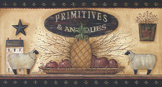 Pam Britton BR156 - Primitives & Antiques Shelf - Pineapple, Shelf, Sheep, Barn Stars, Apples from Penny Lane Publishing