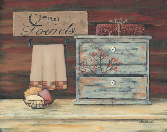 Pam Britton BR208 - Clean Towels - Towels, Berries, Soap, Sign, Drawers from Penny Lane Publishing