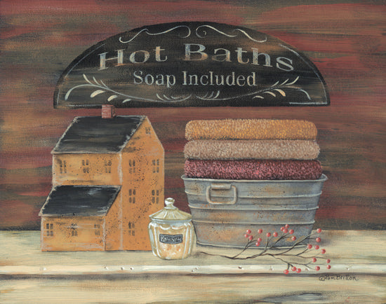 Pam Britton BR209 - Hot Bath - Saltbox House, Galvanized Bucket, Towels, Bath from Penny Lane Publishing