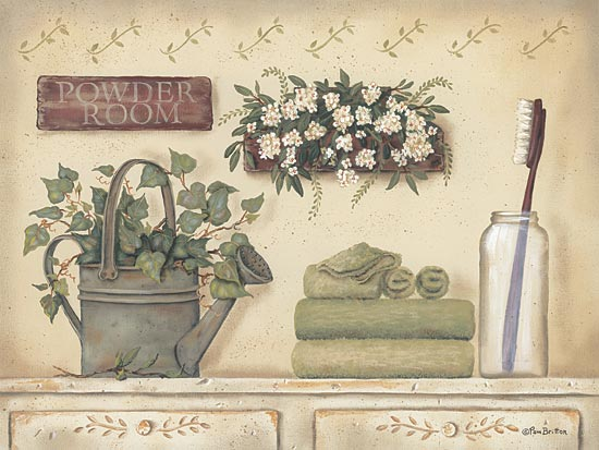 Pam Britton BR266 - Powder Room - Toothbrush, Towels, Flowers, Ivy, Watering Can from Penny Lane Publishing