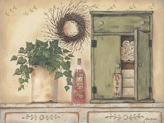 Pam Britton BR267 - Cherry Blossom Bath - Ivy, Crock, Towels, Antiques from Penny Lane Publishing