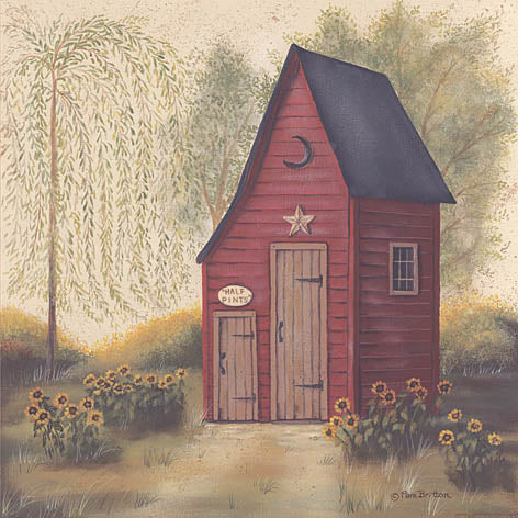 Pam Britton BR298 - Folk Art Outhouse II - Outhouse, Trees, Flowers, Bath from Penny Lane Publishing