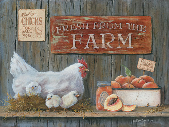 Pam Britton BR389 - Fresh from the Farm - Chicken, Chicks, Signs, Farm, Peaches from Penny Lane Publishing