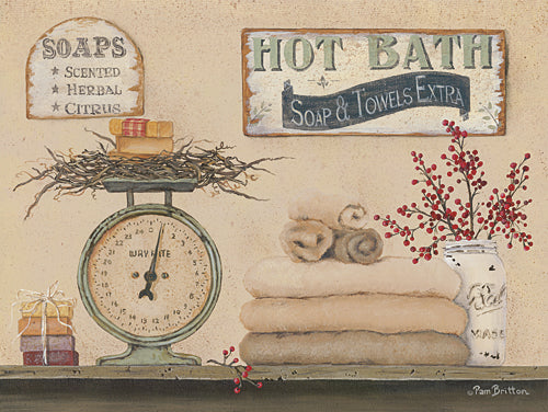 Pam Britton BR410 - Hot Bath - Country, Primitive, Bath, Still Life, Signs, Country, Primitive from Penny Lane Publishing