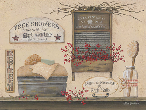Pam Britton BR412 - Free Showers - Country, Primitive, Bath, Still Life, Signs, Country, Primitive from Penny Lane Publishing