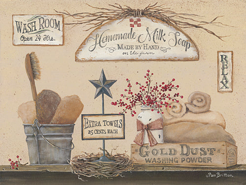 Pam Britton BR413 - Wash Room - Country, Primitive, Bath, Still Life, Signs, Country, Primitive from Penny Lane Publishing