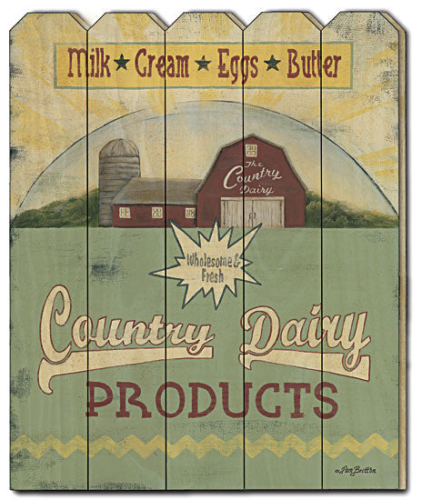 Pam Britton BR427PF - Country Dairy - Sign, Country, Farmlife, Barn, Kitchen, Wood Slat, Picket Fence, Wood, Menu from Penny Lane Publishing