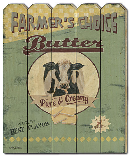 Pam Britton BR428PF - Farmer's Choice Butter - Sign, Country, Primitive, Farm Animals, Cow, Wood Slat, Picket Fence, Menu from Penny Lane Publishing
