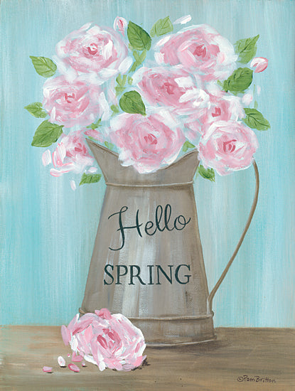 Pam Britton BR498 - BR498 - Hello Spring Roses - 12x16 Signs, Typography, Hello Spring, Pink Roses from Penny Lane