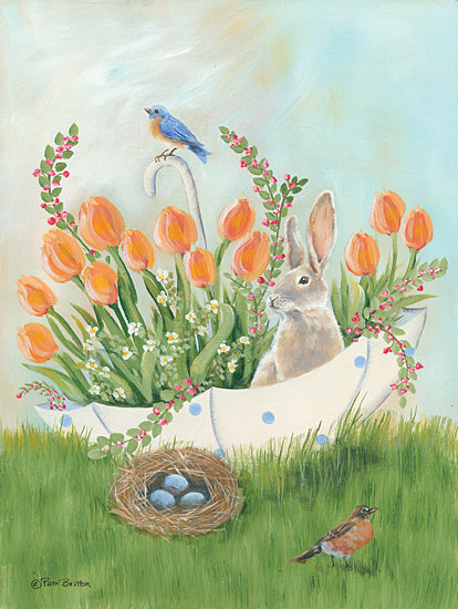 Pam Britton BR500 - BR500 - Umbrella Bounty - 12x16 Umbrella, Flowers, Rabbit, Birds, Blue Eggs from Penny Lane