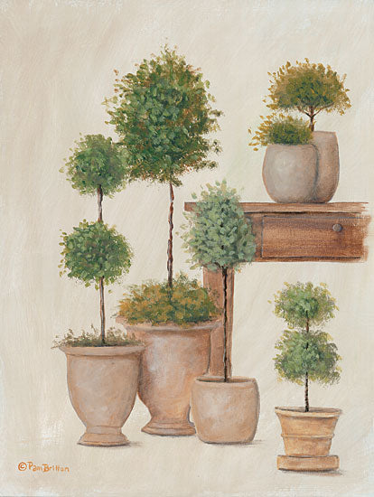 Pam Britton BR511 - BR511 - Potting Bench & Topiaries I   - 12x16 Potting Bench, Topiaries, Potted Plants, Primitive from Penny Lane