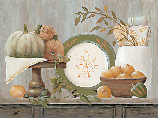 Pam Britton BR513 - BR513 - A Harvest Kitchen - 16x12 Harvest Kitchen, Pumpkins, Still Life, Autumn, Plate, Primitive from Penny Lane