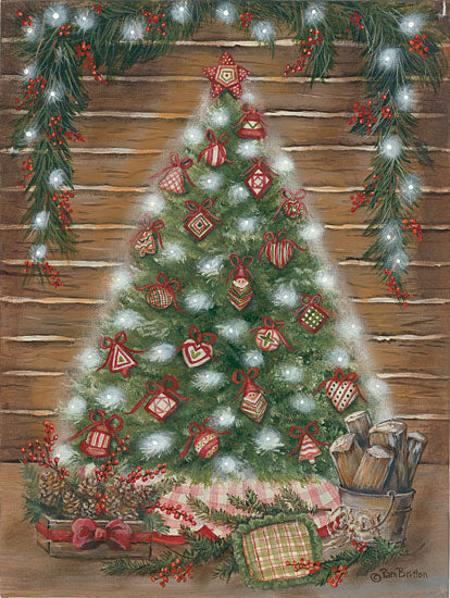 Pam Britton BR520 - BR520 - A Log Cabin Christmas - 12x16 Christmas Tree, Log Cabin, Holidays, Christmas, Lights, Lodge, Rustic from Penny Lane