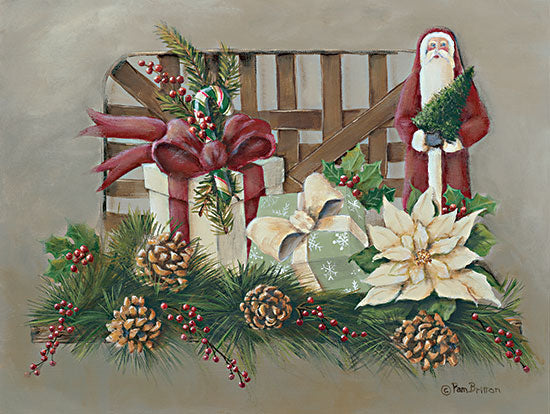 Pam Britton BR521 - BR521 - A Joyful Assortment - 16x12 Old Fashioned, Basket, Santa Claus, Presents, Pine Cones, Pine Needles, Berries, Holidays, Christmas, Primitive from Penny Lane