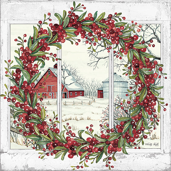Cindy Jacobs CIN1326 - CIN1326 - Winter Barn Window View I - 12x12 Winter, Barn, Window, Wreath, Christmas Ivy, Silo from Penny Lane