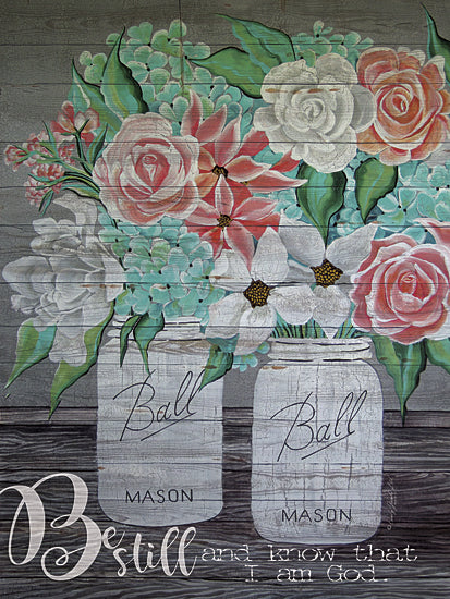 Cindy Jacobs CIN138 - Be Still and Know that I am God - Ball Mason Jars, Flowers, Religious, Inspirational from Penny Lane Publishing